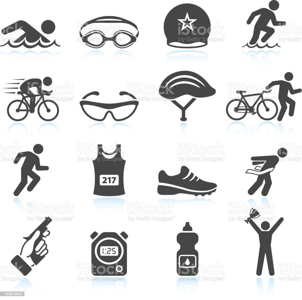 Triathlon sport event iron man vector icon set vector art illustration