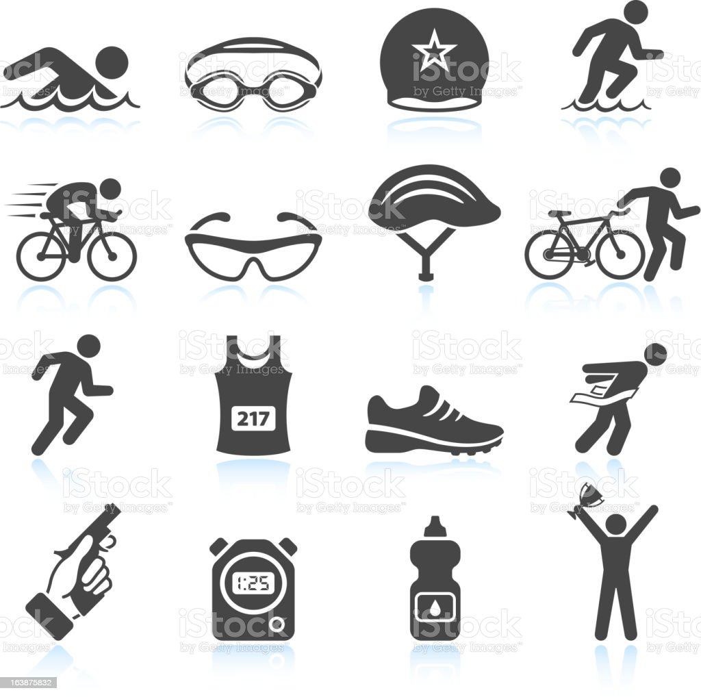 Triathlon sport event iron man vector icon set vector art illustration