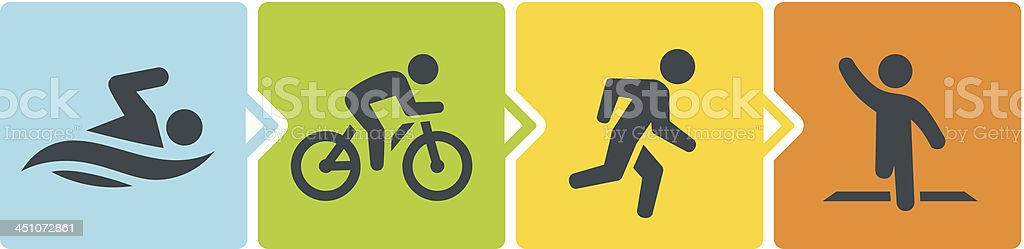 Triathlon Stages vector art illustration
