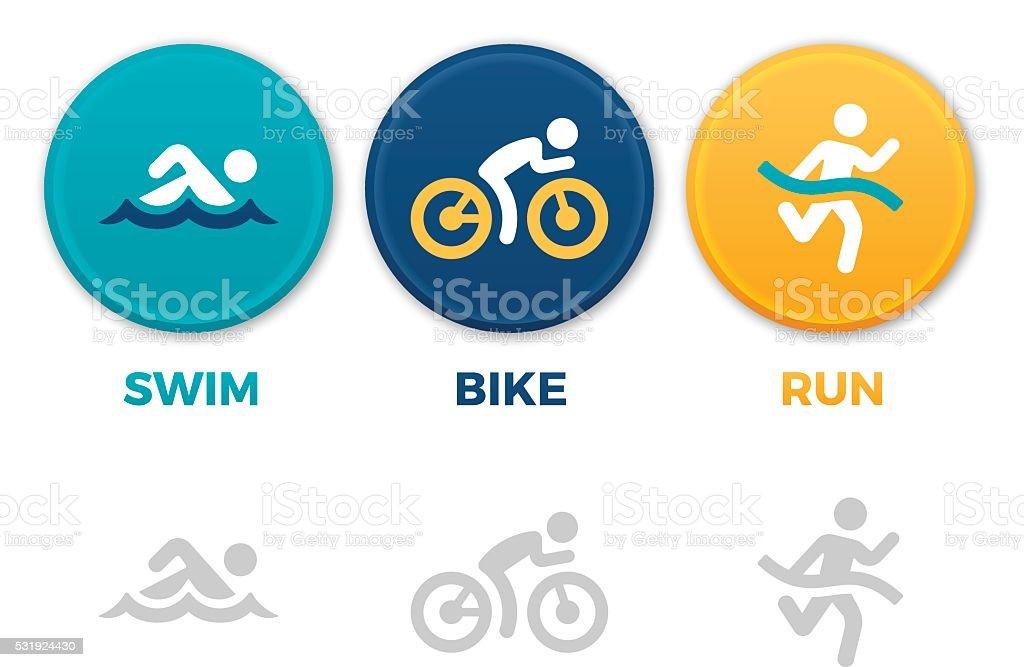 Triathlon Symbols vector art illustration
