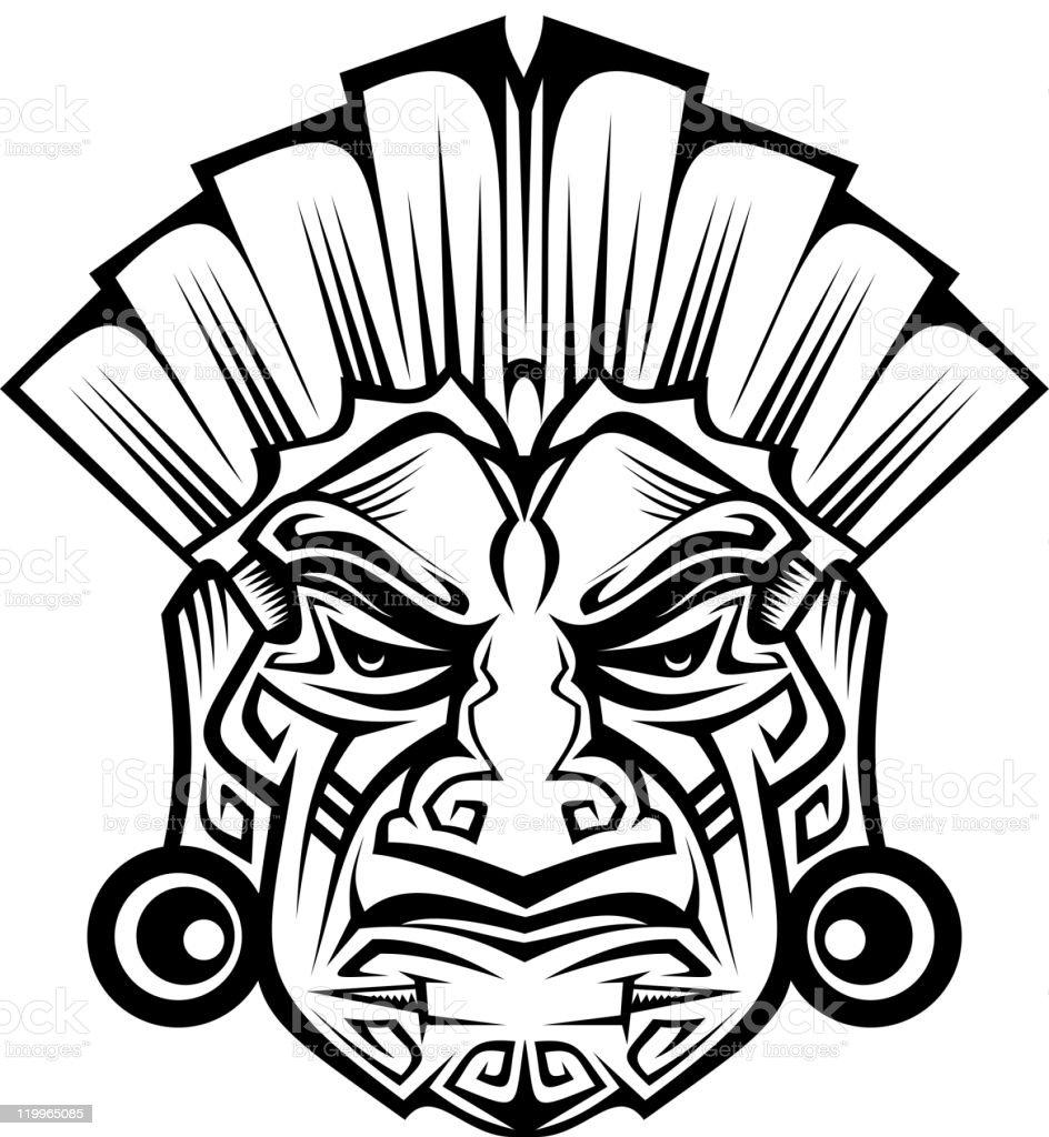 Tribal ancient mask vector art illustration