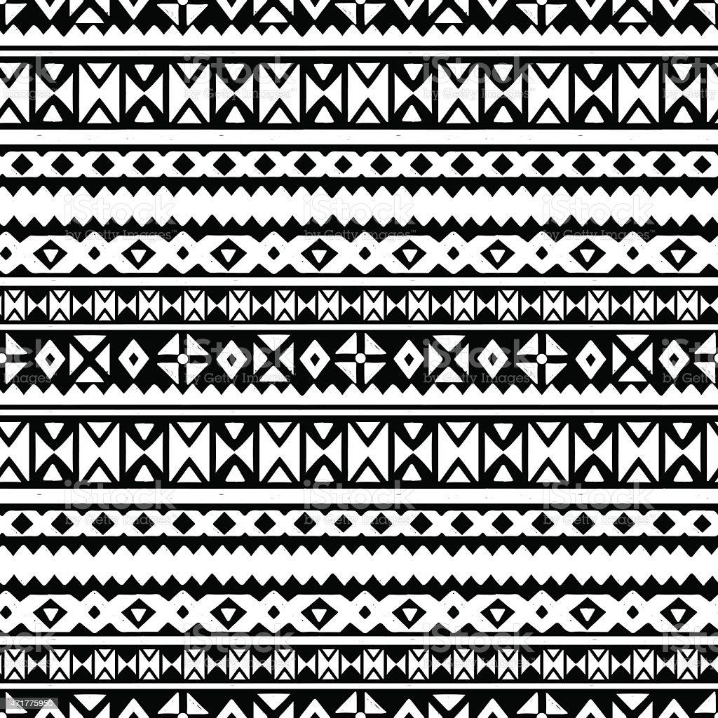Tribal art aztec ethnic seamless pattern vector art illustration