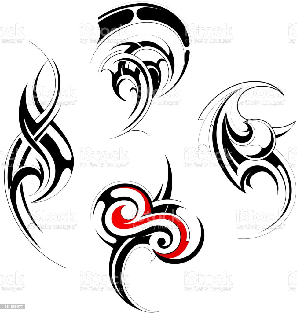 Tribal art set vector art illustration