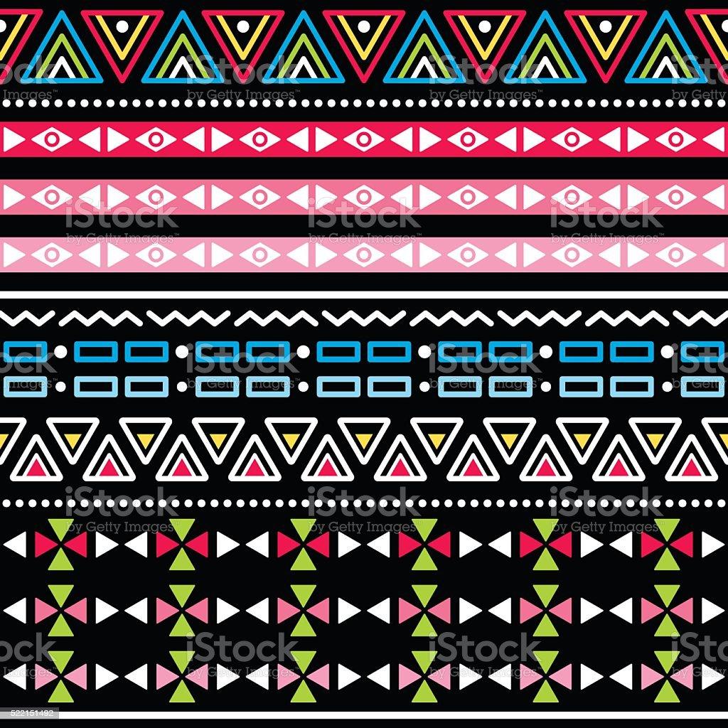 Tribal Aztec colorful seamless pattern vector art illustration