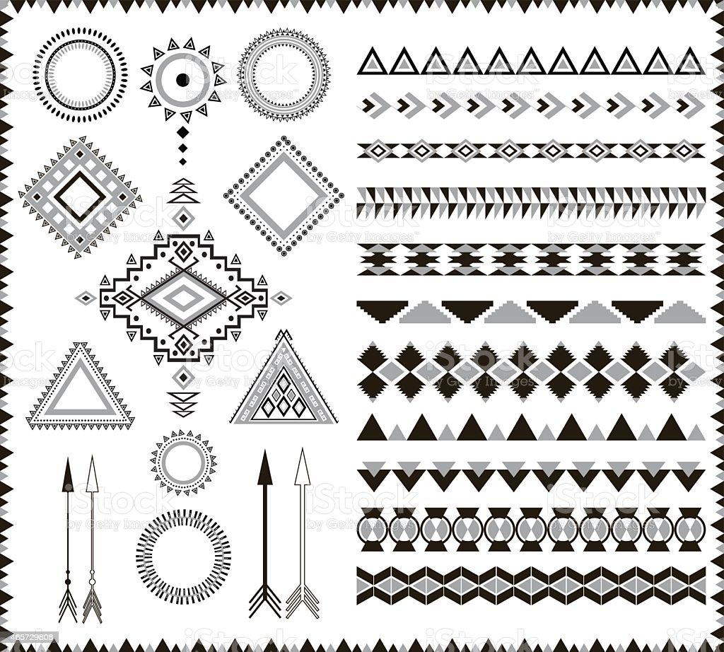 Tribal aztec elements. vector art illustration
