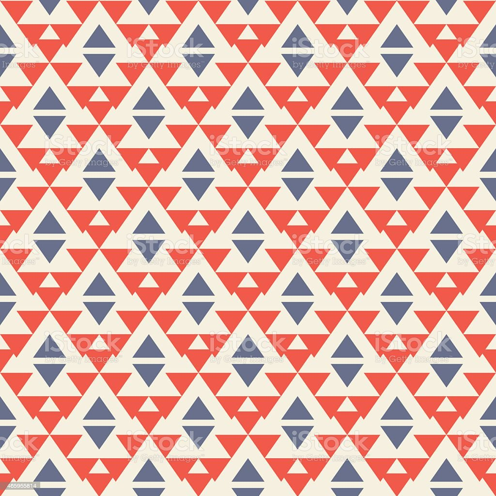 Tribal Aztec red and blue triangular seamless pattern vector art illustration