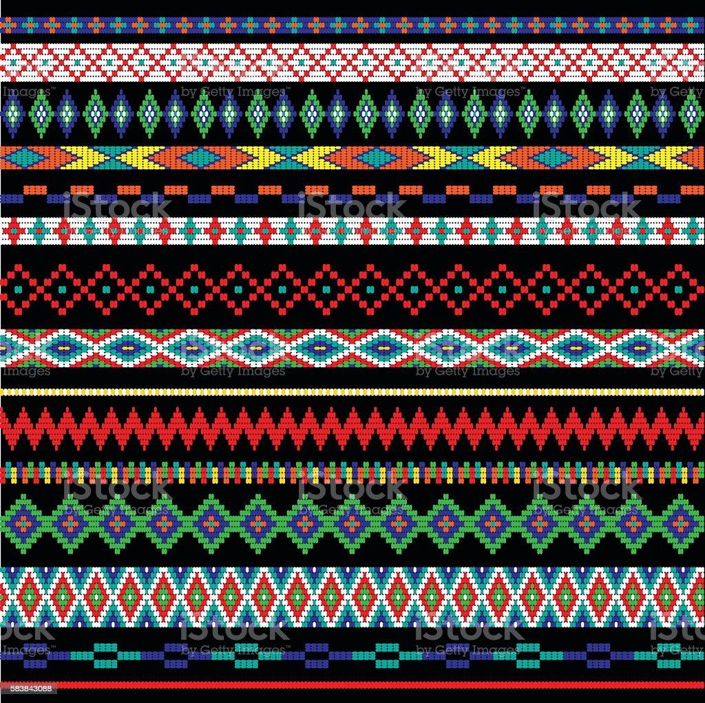 tribal bead stripes vector art illustration