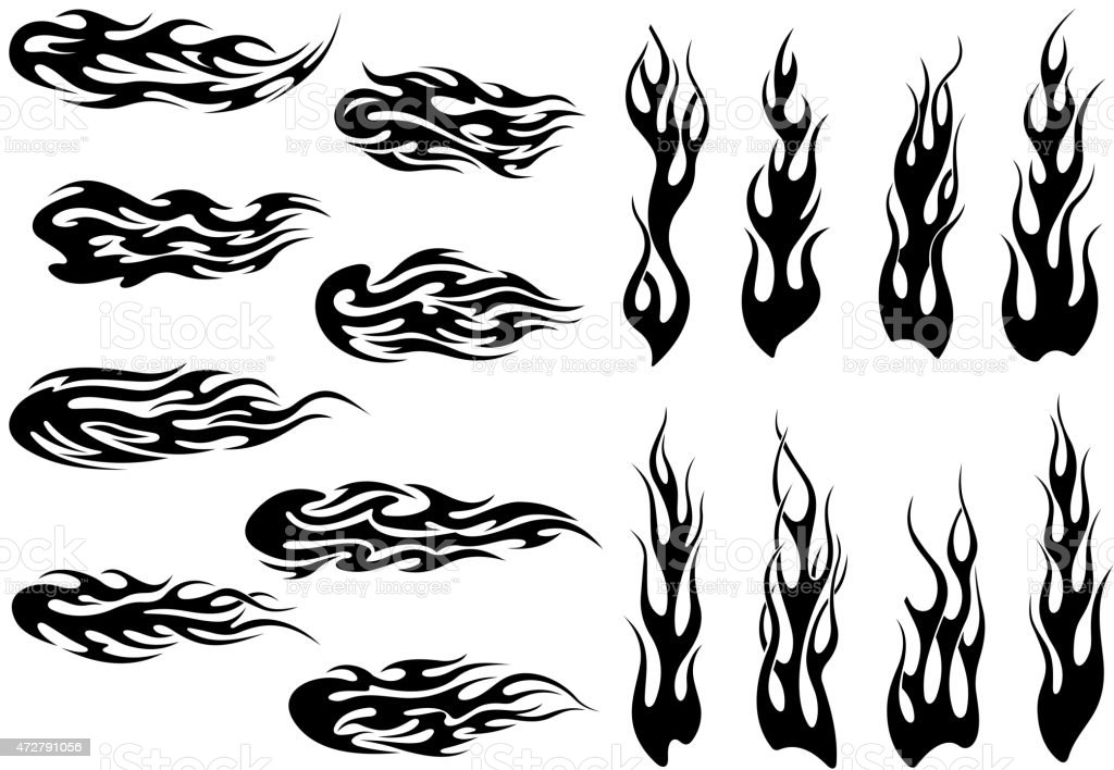 Tribal black fire flames tattoo design vector art illustration