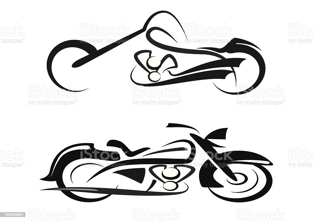 Tribal Custom and Classic Motorbike royalty-free stock vector art