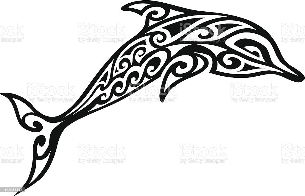 Tribal Dolphin vector art illustration