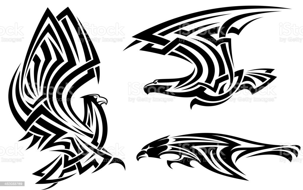 Tribal eagle, hawk and falcon royalty-free stock vector art