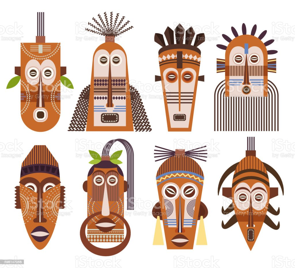Tribal ethnic mask vector icons vector art illustration