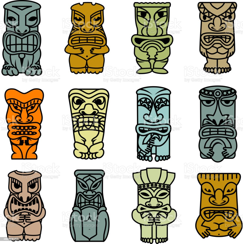 Tribal ethnic masks and totems vector art illustration