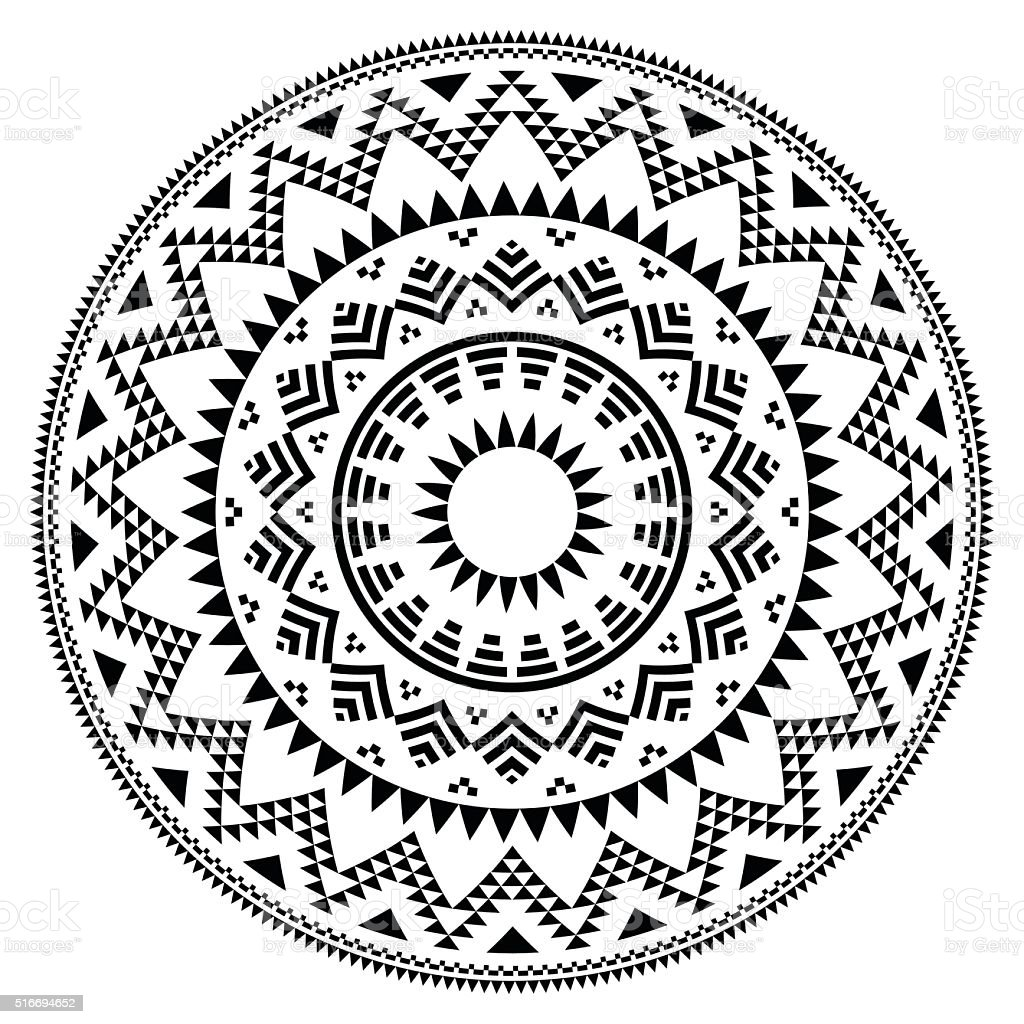 Tribal folk Aztec geometric pattern in circle vector art illustration