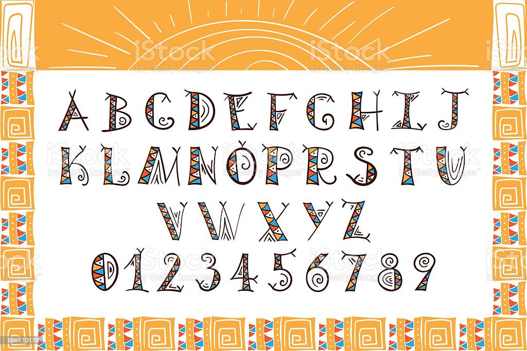 Tribal font vector. African, Mexican or Aztec style letters. vector art illustration