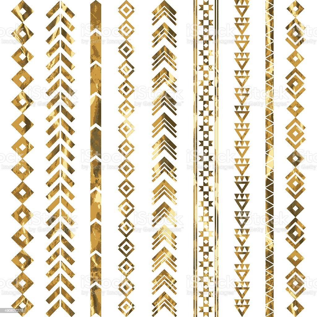 Tribal geometric gold pattern vector art illustration