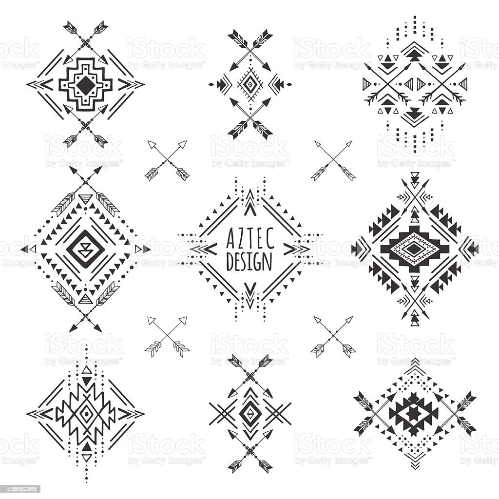 Tribal geometric symbols. vector art illustration