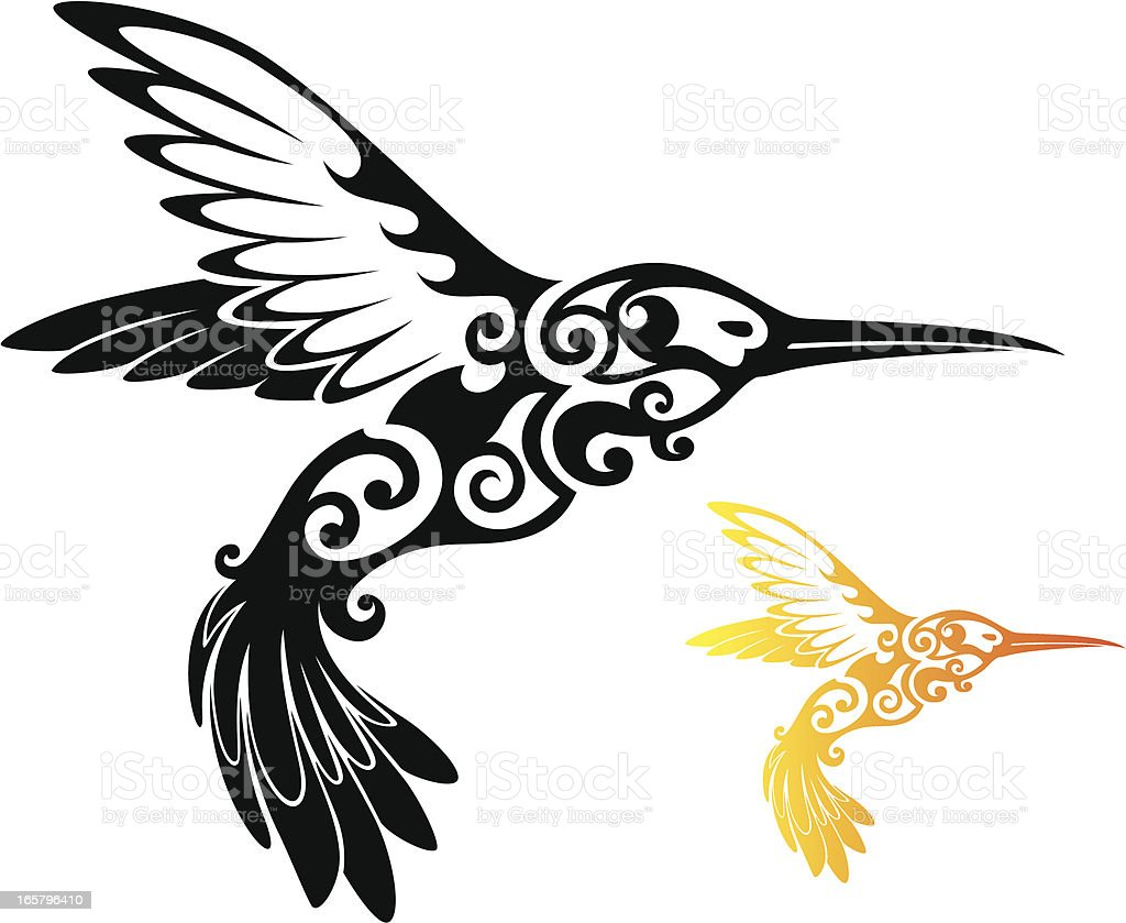 Tribal Hummingbird vector art illustration