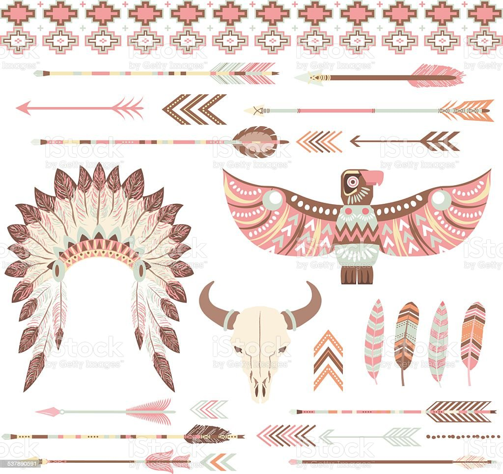Tribal /Indian Clip Art Collections vector art illustration