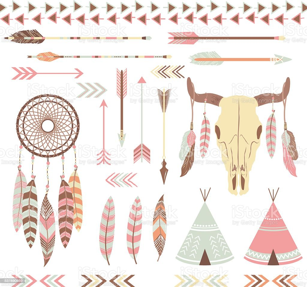 Tribal Indian Elements vector art illustration