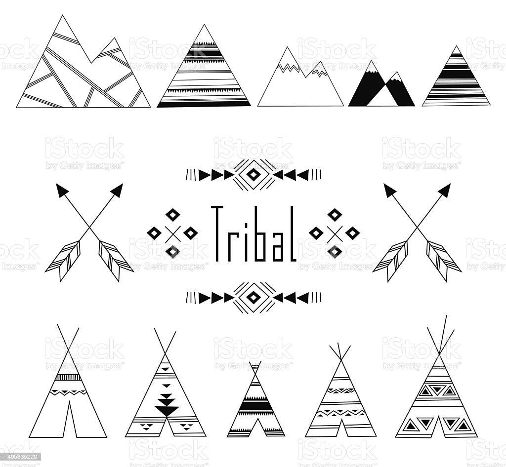 Tribal Indian set vector art illustration