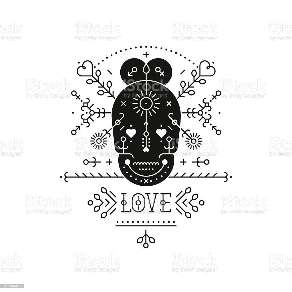 Tribal label with skull vector art illustration