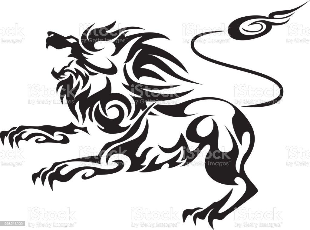 tribal lion llustration vector art illustration