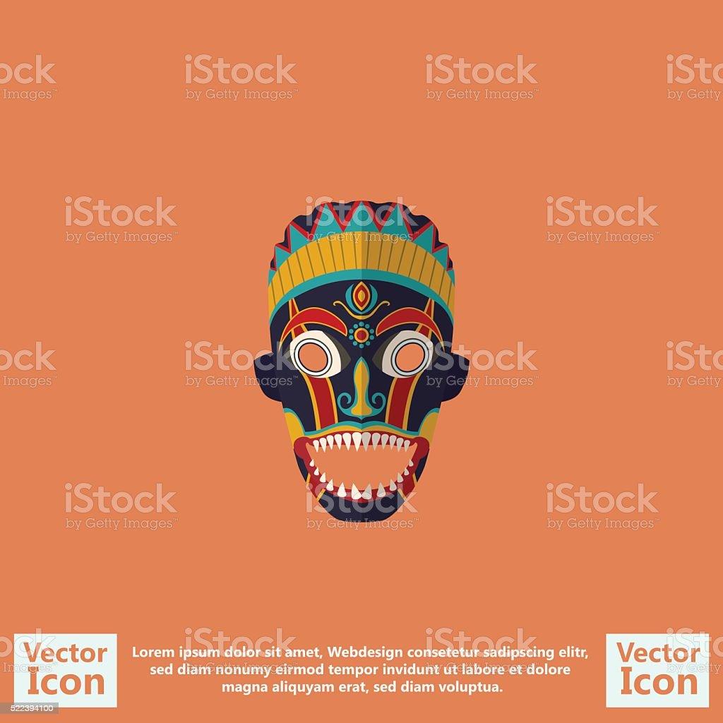 Tribal mask symbol vector art illustration