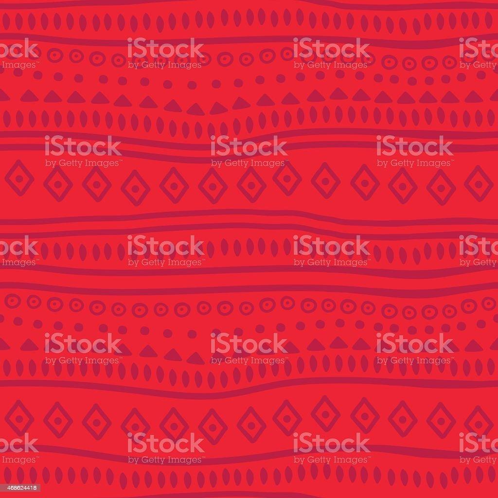 Tribal red vector pattern vector art illustration