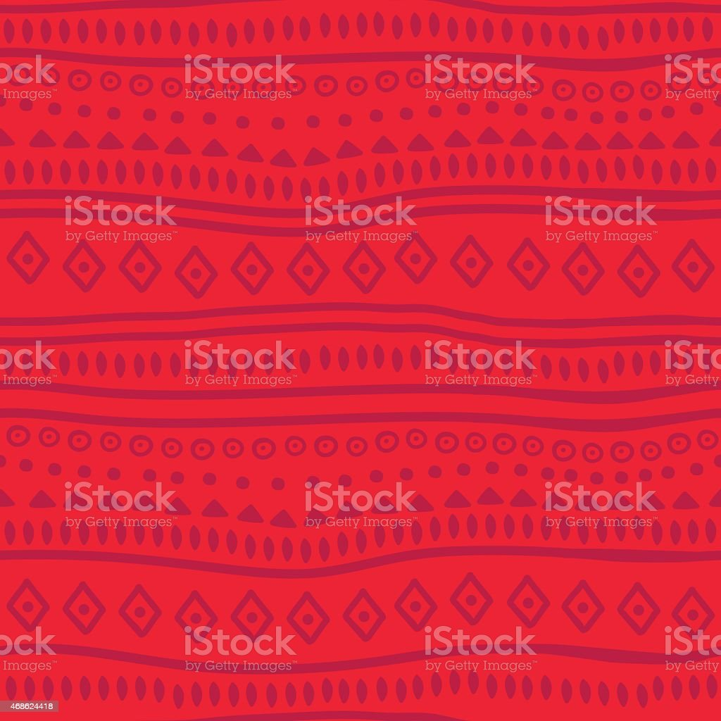 Tribal red vector pattern vector art illustration