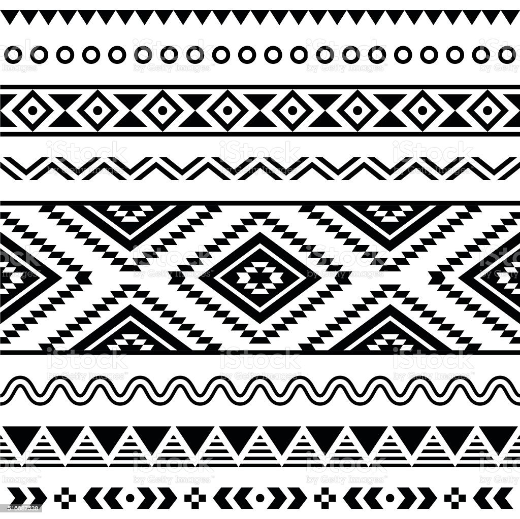 Tribal seamless Aztec white pattern on black background vector art illustration