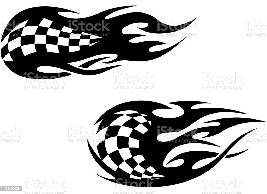 Tribal tattoos with checkered flag royalty-free stock vector art