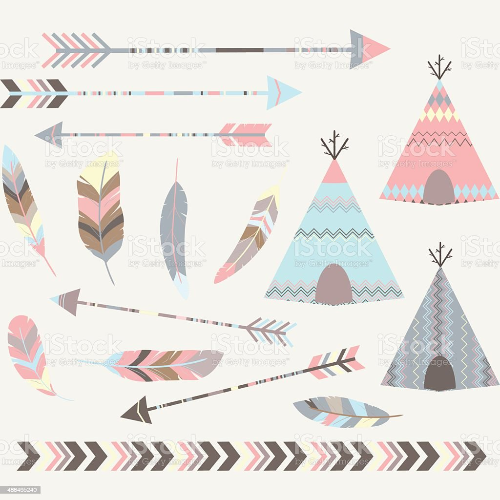 Tribal Tee pee Tents Collections vector art illustration