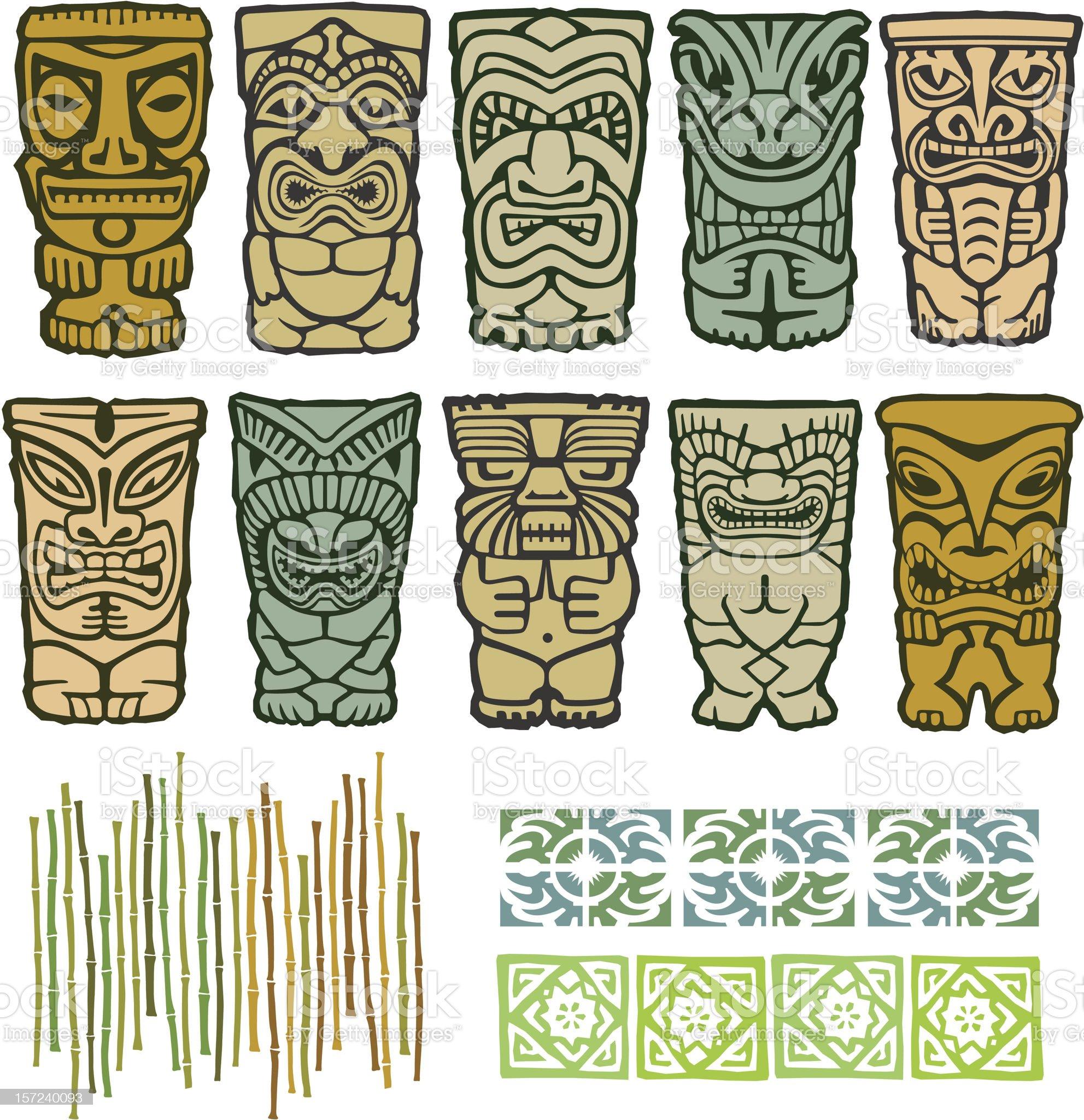 Tribal Tiki Vector Totem Illustrations royalty-free stock vector art