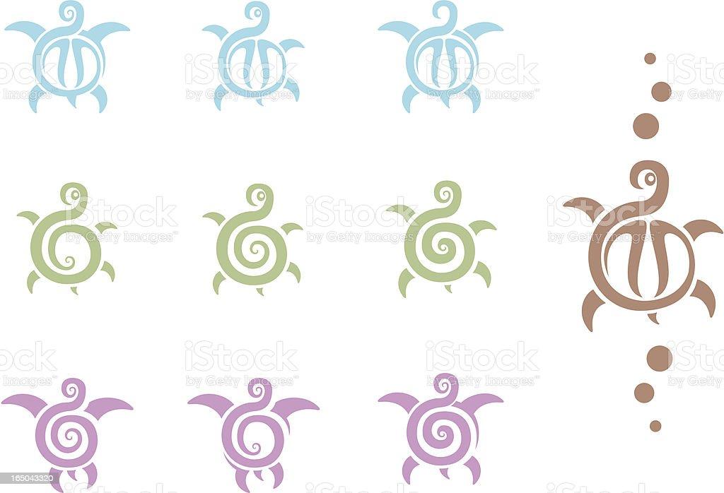 Tribal Turtle Tattoos royalty-free stock vector art