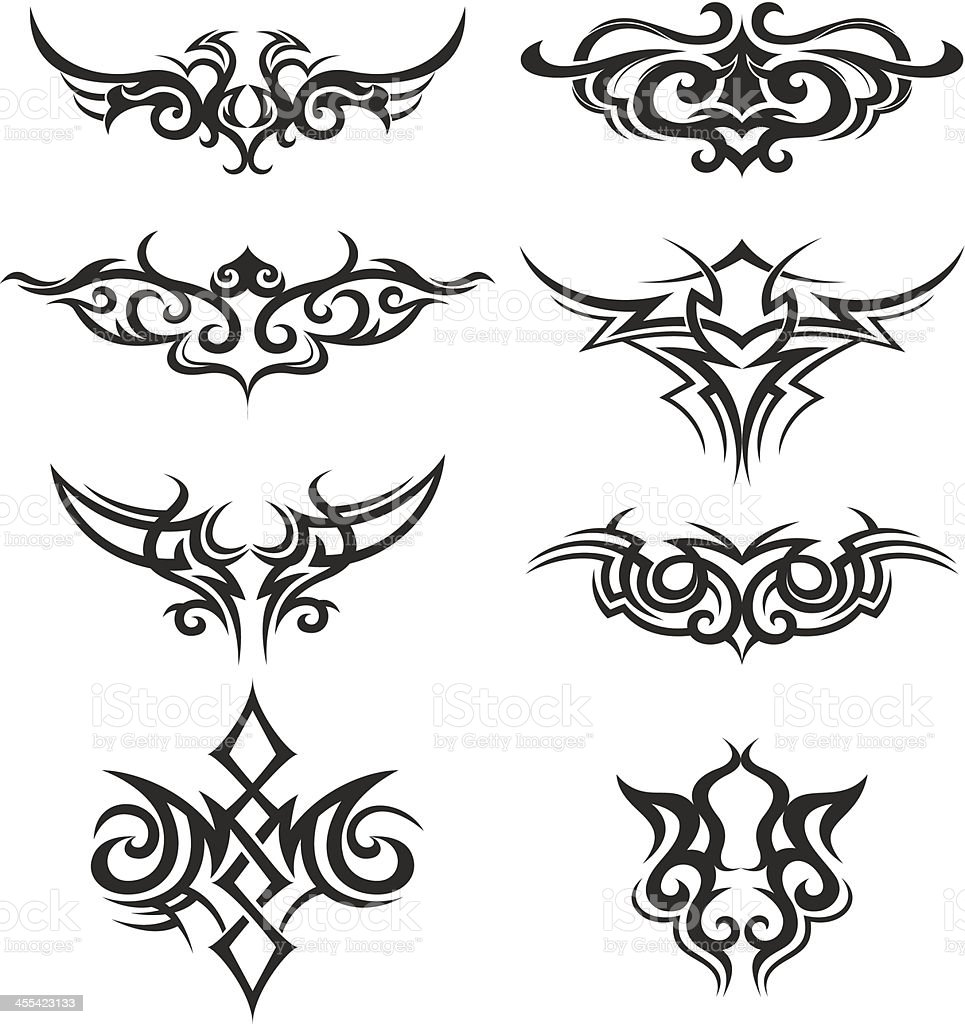 Tribal vector illustrations with strong black lines royalty-free stock vector art