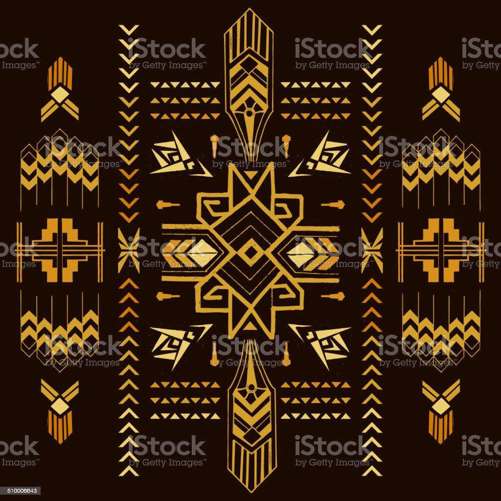 Tribal Vintage Aztec Background - hand drawn vector art illustration