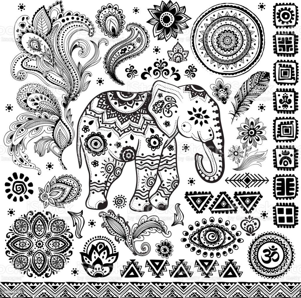 Tribal vintage ethnic pattern set vector art illustration