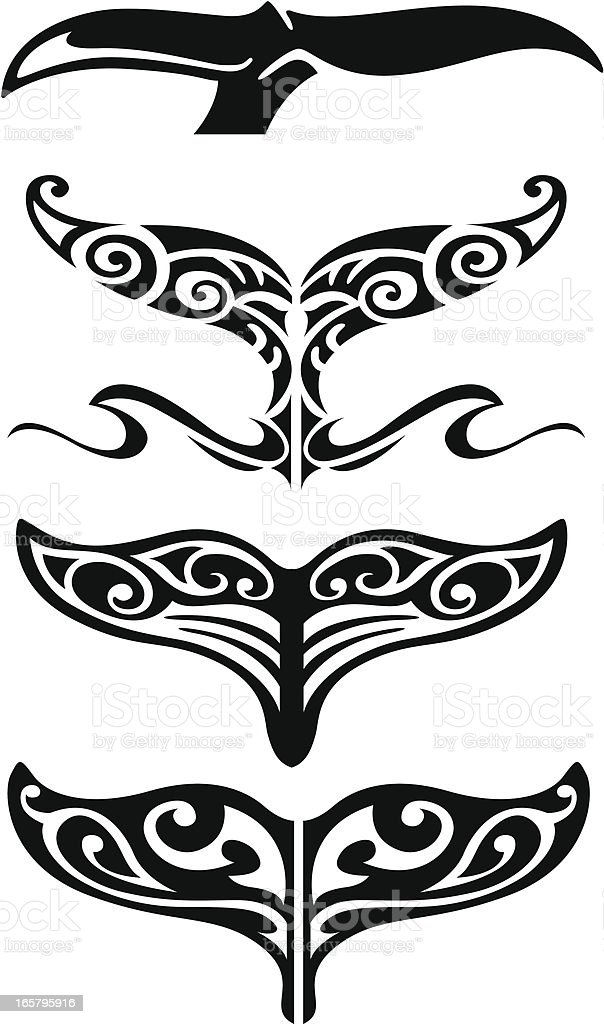 Tribal Whale Tail vector art illustration