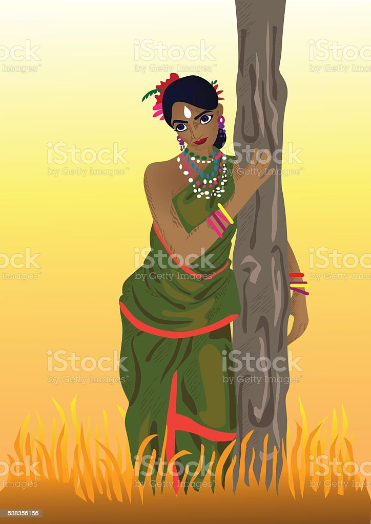 Tribal Woman from India vector art illustration