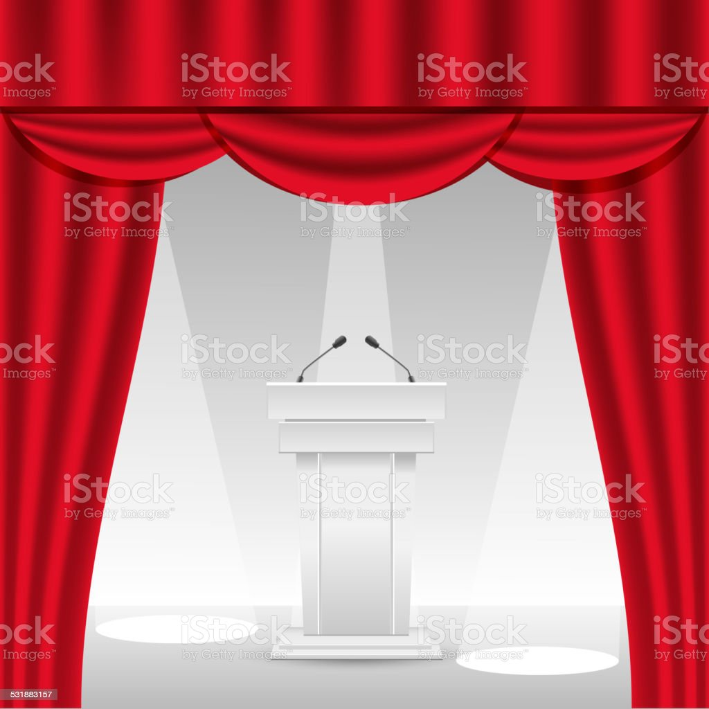 Tribune on stage with red curtain vector art illustration