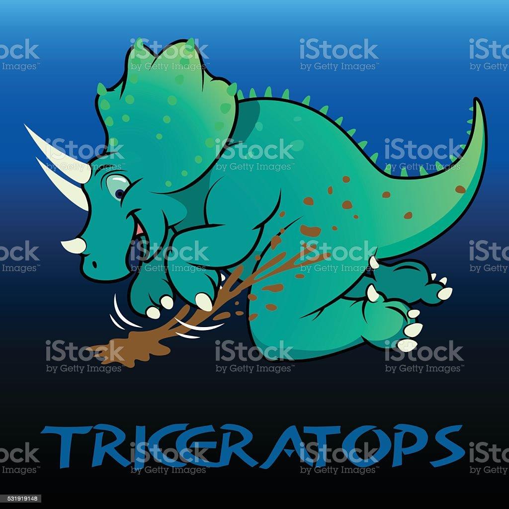 Triceratops cute character dinosaurs vector art illustration