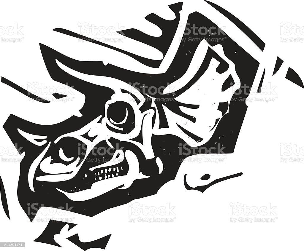 Triceratops Fossil Skull vector art illustration