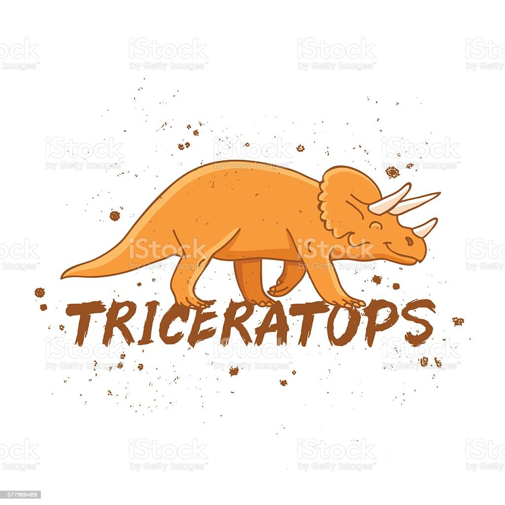 Triceratops. Large orange dinosaur vector art illustration