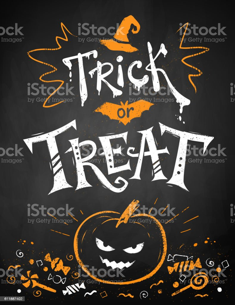 Trick or Treat Halloween poster vector art illustration