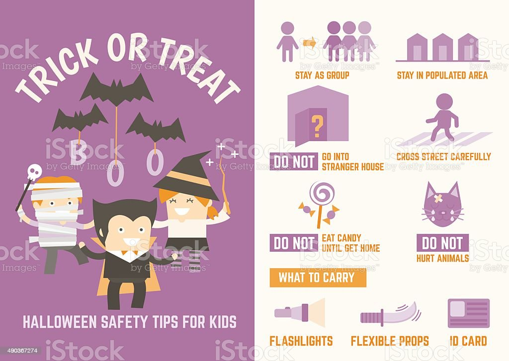 trick or treat halloween safety tips vector art illustration
