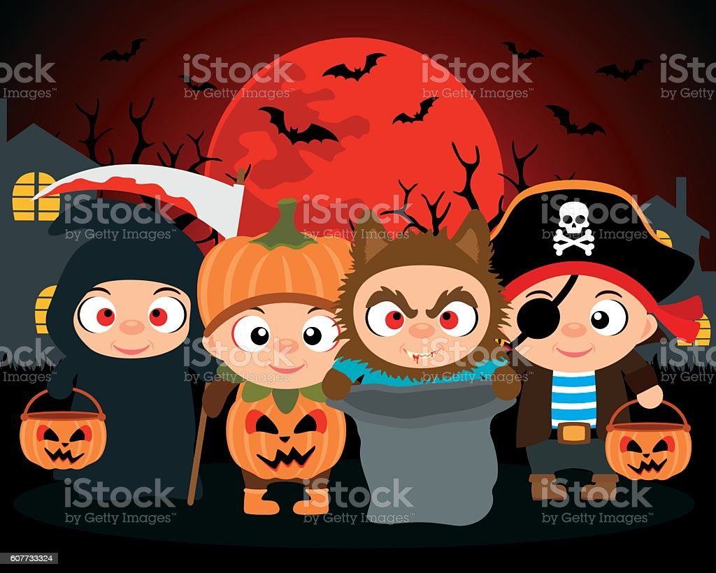 Trick or Treat ,Halloween vector background with kids vector art illustration
