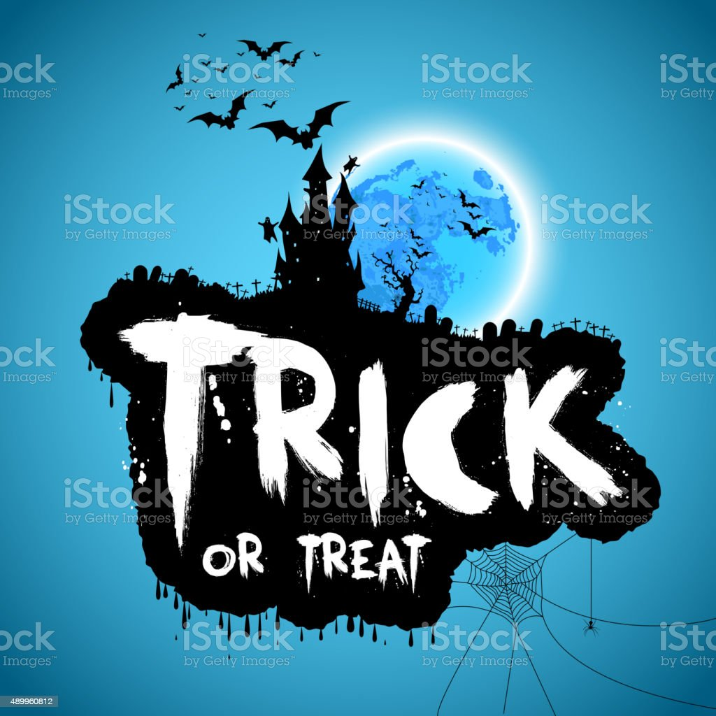 Trick or treat, Happy halloween design on blue background vector art illustration