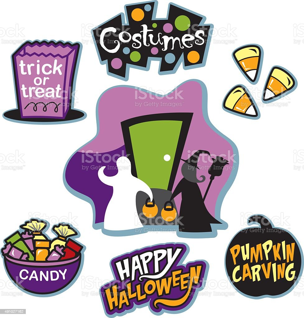 Trick or treat illustration collection, trick or treaters, and candy vector art illustration