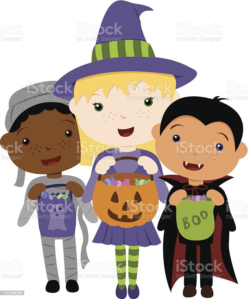 Trick or Treat Trio vector art illustration